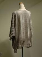 ドルマンスリーブTシャツ ボーダー 背面斜画像
