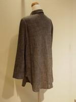 千鳥格子ウール 長袖ブラウス[シャツ] 背面斜画像