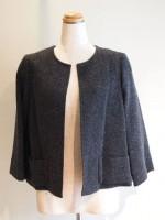七分袖ノーカラージャケット (女性 婦人服)