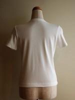 半袖Tシャツ 丸首(オフ白) 背面画像