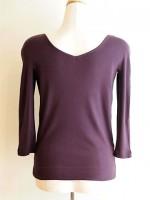 七分袖Tシャツ 前後Vネック(紫) 側面画像