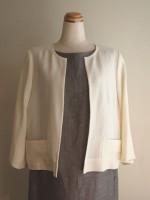 平織り麻 七分袖ノーカラージャケット(女性 婦人服)