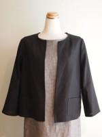麻 七分袖ノーカラージャケット(女性 婦人服)