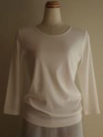 綿ジャージー 丸首七分袖Tシャツ(女性 婦人服)