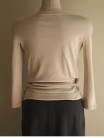 ボートネック七分袖Tシャツ(ベージュ)背面画像