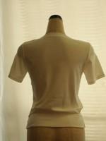 ボトル明き5分袖Tシャツ(オフ白)背面画像