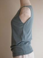 ボートネックノースリーブTシャツ(マリンブルー)側面画像